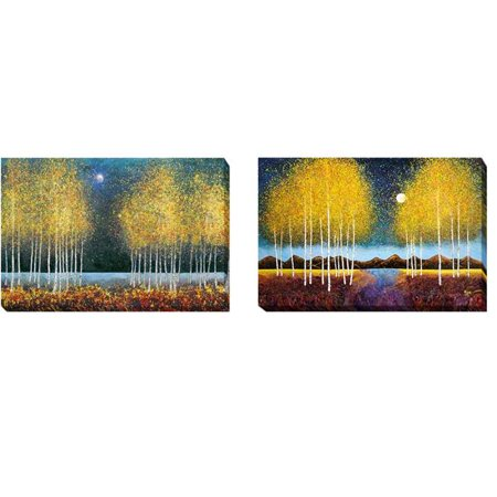 Blue Moon & Full Moon Panorama by Melissa Graves-Brown 2-Piece Premium Gallery Wrapped Canvas Giclee Art Set - 12 x 18 x 1.5 in. - image 1 de 1