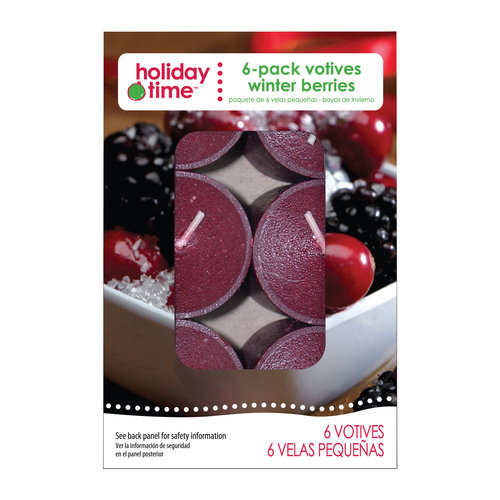 Holiday Time 6-Pack Votives, Winter Berries