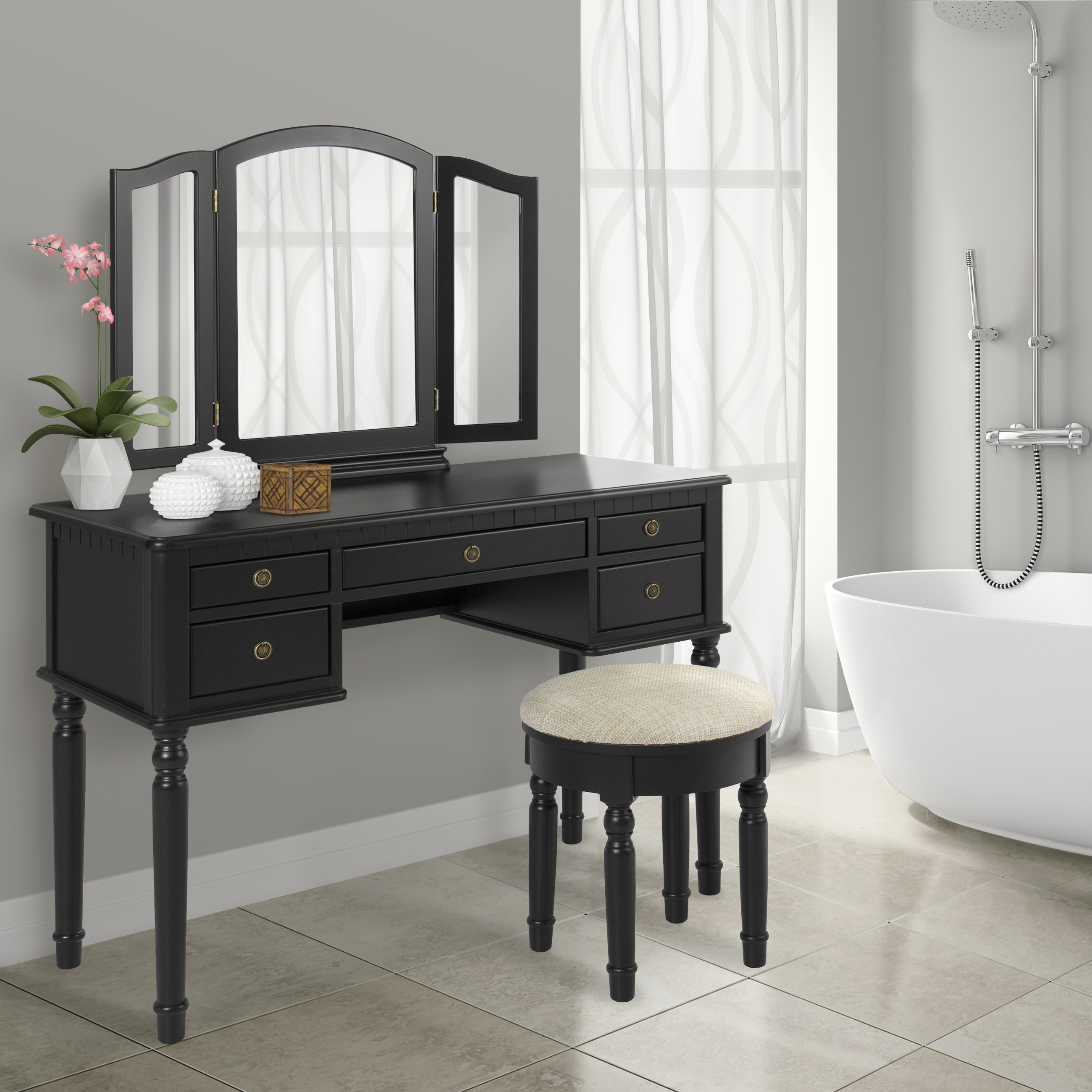 Best Choice Products Bathroom Tri Mirror Vanity Set Makeup Table and Bench