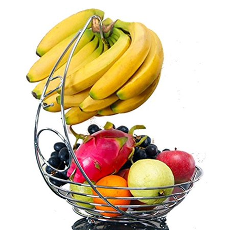 Quality Fruit Basket with Banana Hanger Metal Countertop Baskets Tabletop Heavy Duty Iron Produce Stand Storage Holder Premium Grapes Hanging Hook Rack Chrome