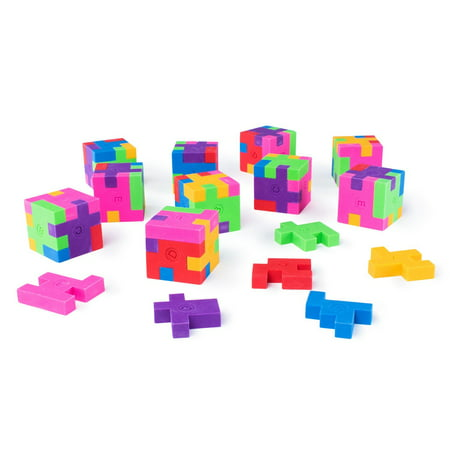 Mini Colorful Geometric Shape Puzzle Pencil Erasers School Supplies, Party Favors (12 Pack) by Super Z - Eraser Puzzle