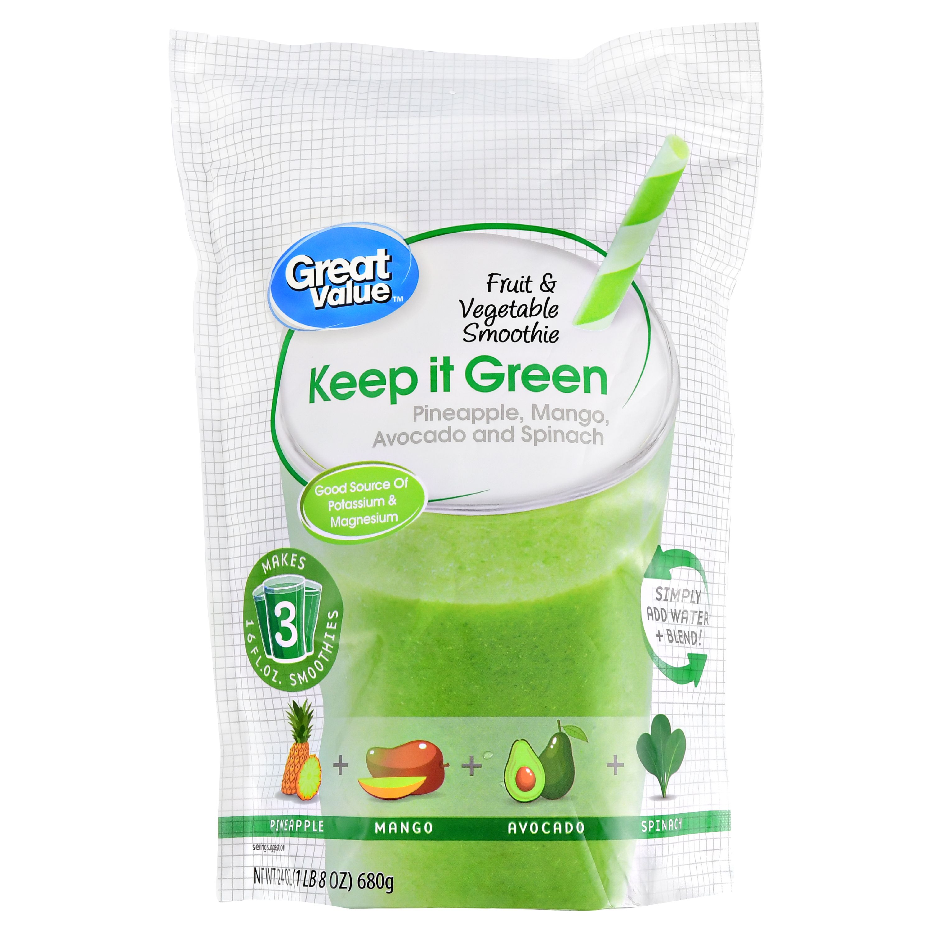 Great Value Fruit & Vegetable Smoothie, Keep it Green, 24 oz