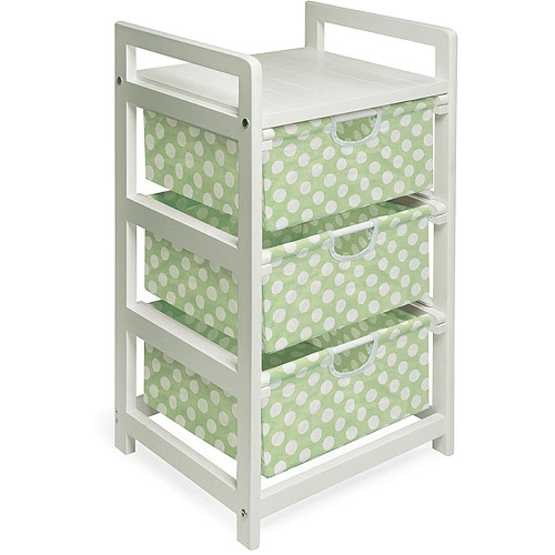 Badger Basket White 3-Drawer Hamper/Storage Unit, Sage Polka Dots