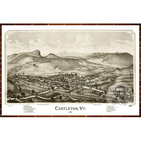 Ted's Vintage Art Map of Castleton, VT 1886; Old Vermont Decor 18
