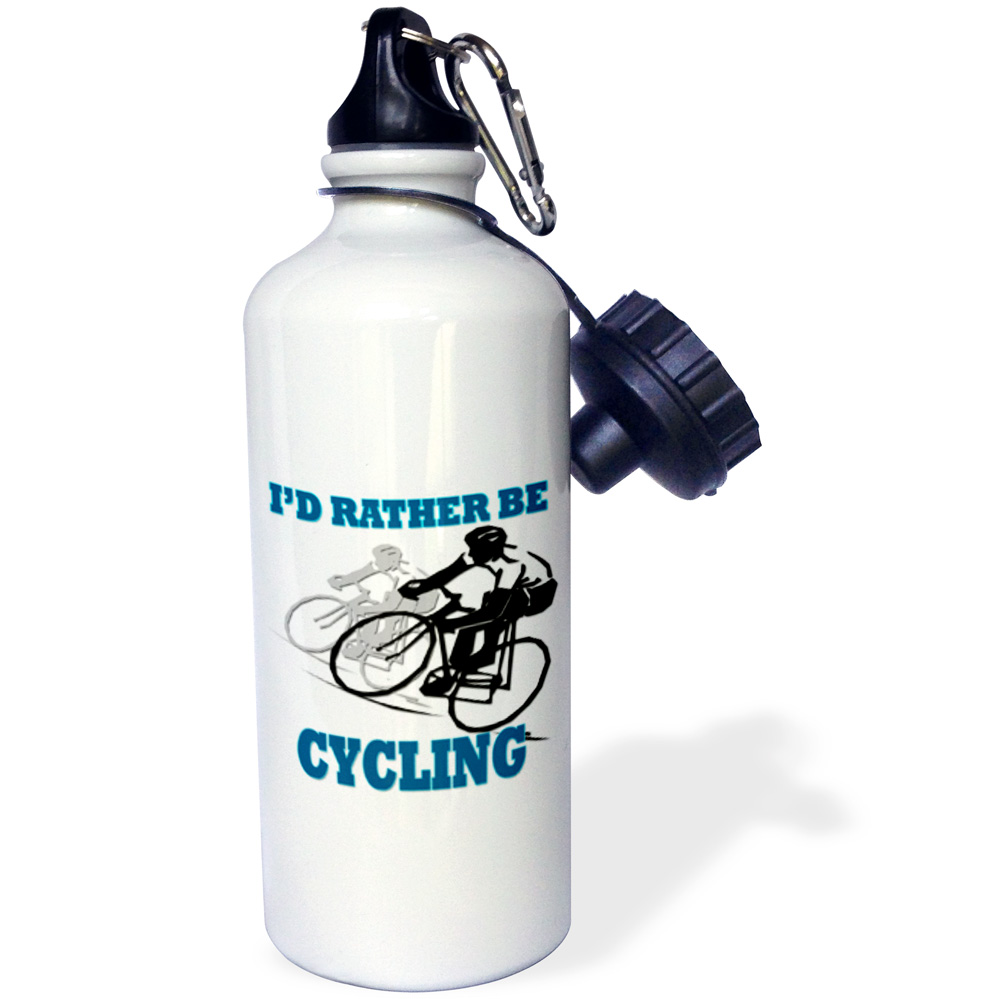 3dRose Id rather be cycling. Funny quotes. Popular saying., Sports Water Bottle, 21oz