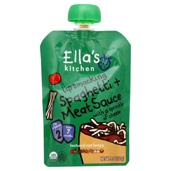 Ella's Kitchen Lip Smacking Spaghetti + Meat Sauce Baby Food, Stage 2 from 6 Months, 4.5 oz