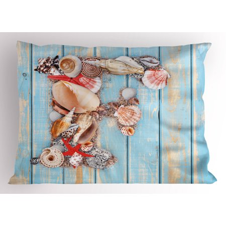 Letter F Pillow Sham Coastal Image with Soft Color Sea Related Animal Shells Alphabet, Decorative Standard Size Printed Pillowcase, 26 X 20 Inches, Pale Blue Ivory Dark Coral, by Ambesonne