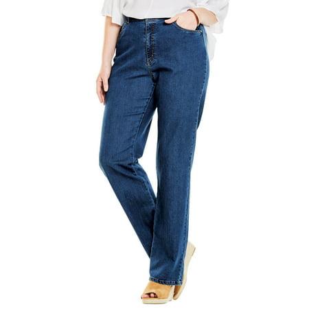 31979426a1e Woman Within - Plus Size Tall Wide Leg Stretch Jean - Walmart.com