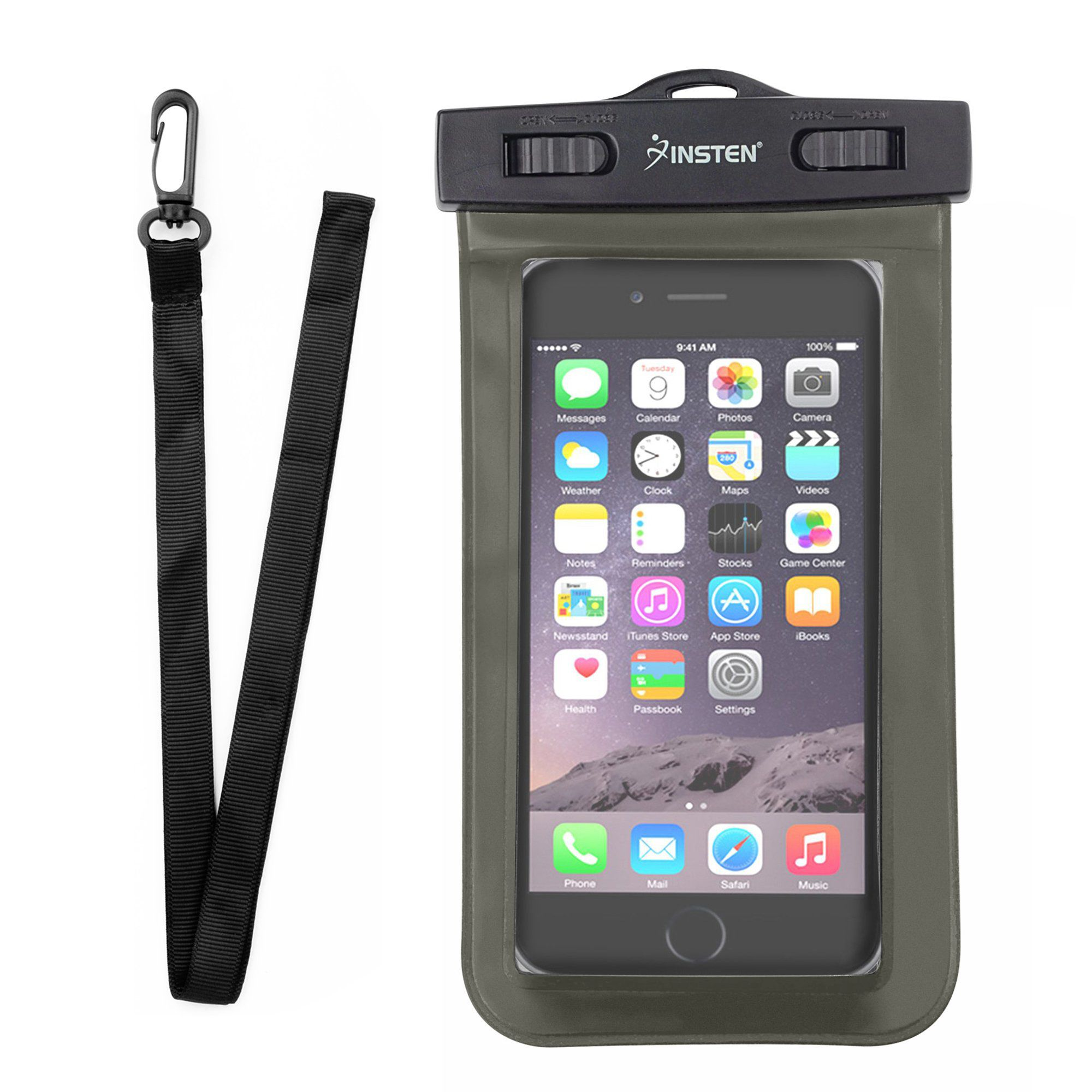 "Insten Black Waterproof Bag Carrying Case Pouch (6.5"" x 3.9"") with Lanyard & Armband for iPhone 7 6 6s Plus SE Samsung LG HTC Microsoft Nokia Motorola Alcatel ZTE Huawei Asus Universal - up to 3 meter"