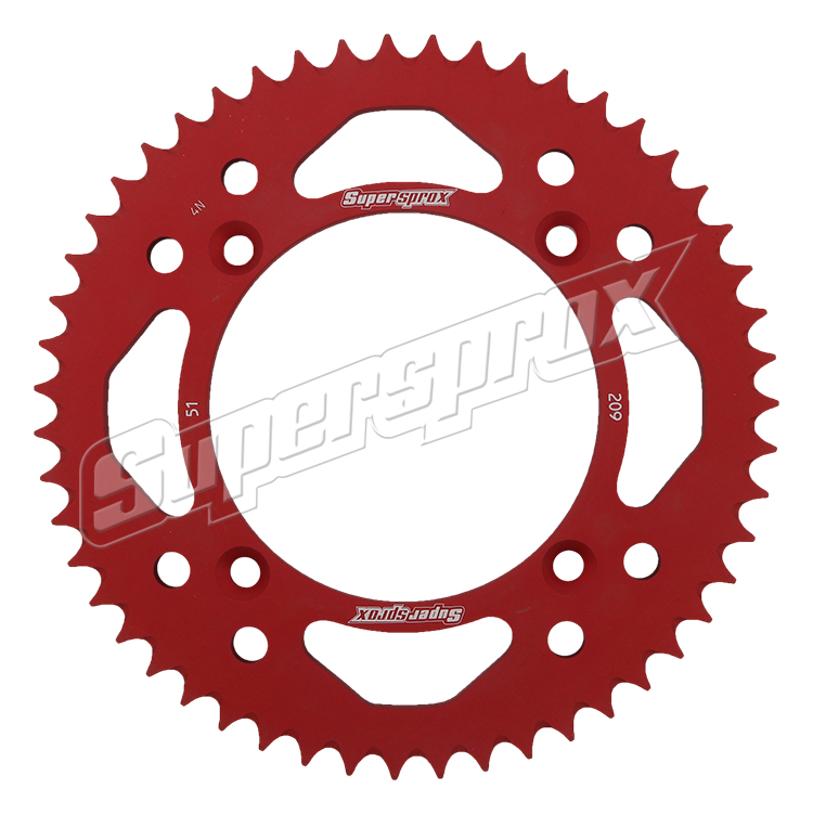 New Supersprox Red Aluminum Sprocket, 51T, Chain Size 420, Ral-209-51-Red