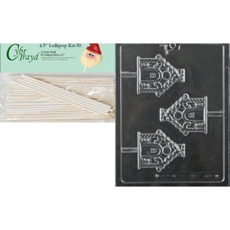 Cybrtrayd 00045St50-C463 Gingerbread House Lolly Christmas Chocolate/Candy Mold with 50 4.5-Inch Lollipop Sticks ()