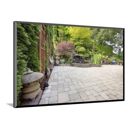Backyard Asian Inspired Paver Patio Garden Wood Mounted Print Wall Art By - Asian Inspired Wall Art
