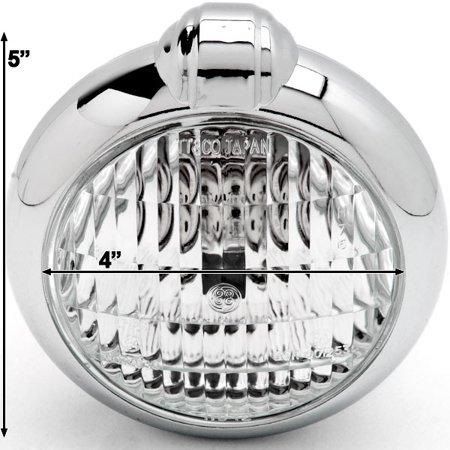 Kapsco Moto Universal Chrome Motorcycle Headlight with Bracket For Yamaha Road Star Warrior Midnight XV - image 2 of 7