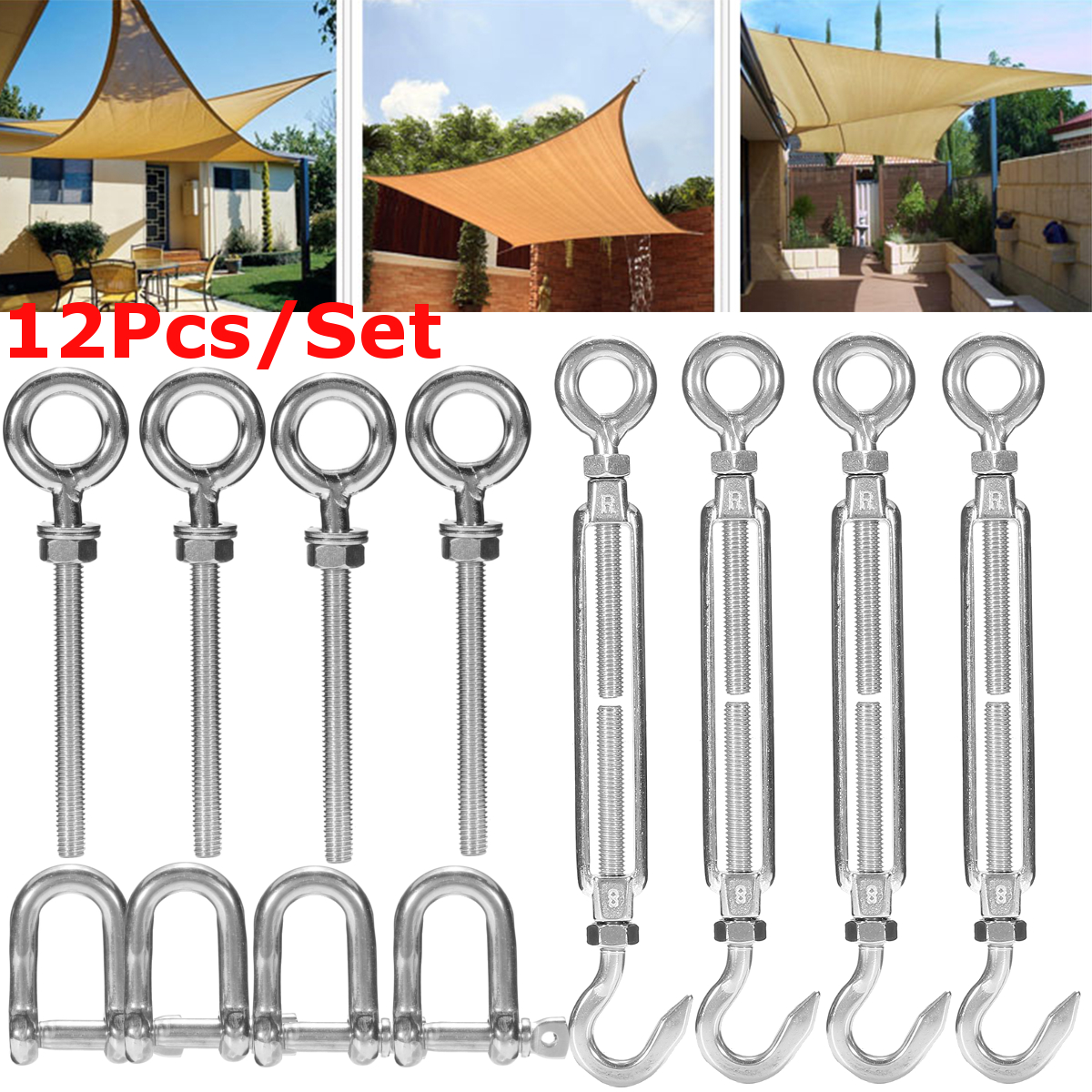 12X Stainless Steel Sun Sail Shade Canopy Fixing Fittings Hardware Accessory Kit