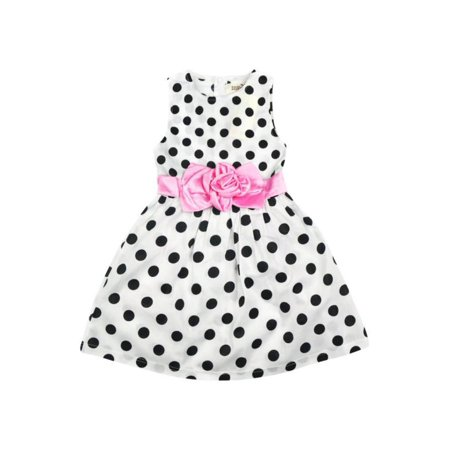 Kids Baby Girl Polka Dot Princess Dress Sleeveless Party Wedding Tutu Dress 1-7Y