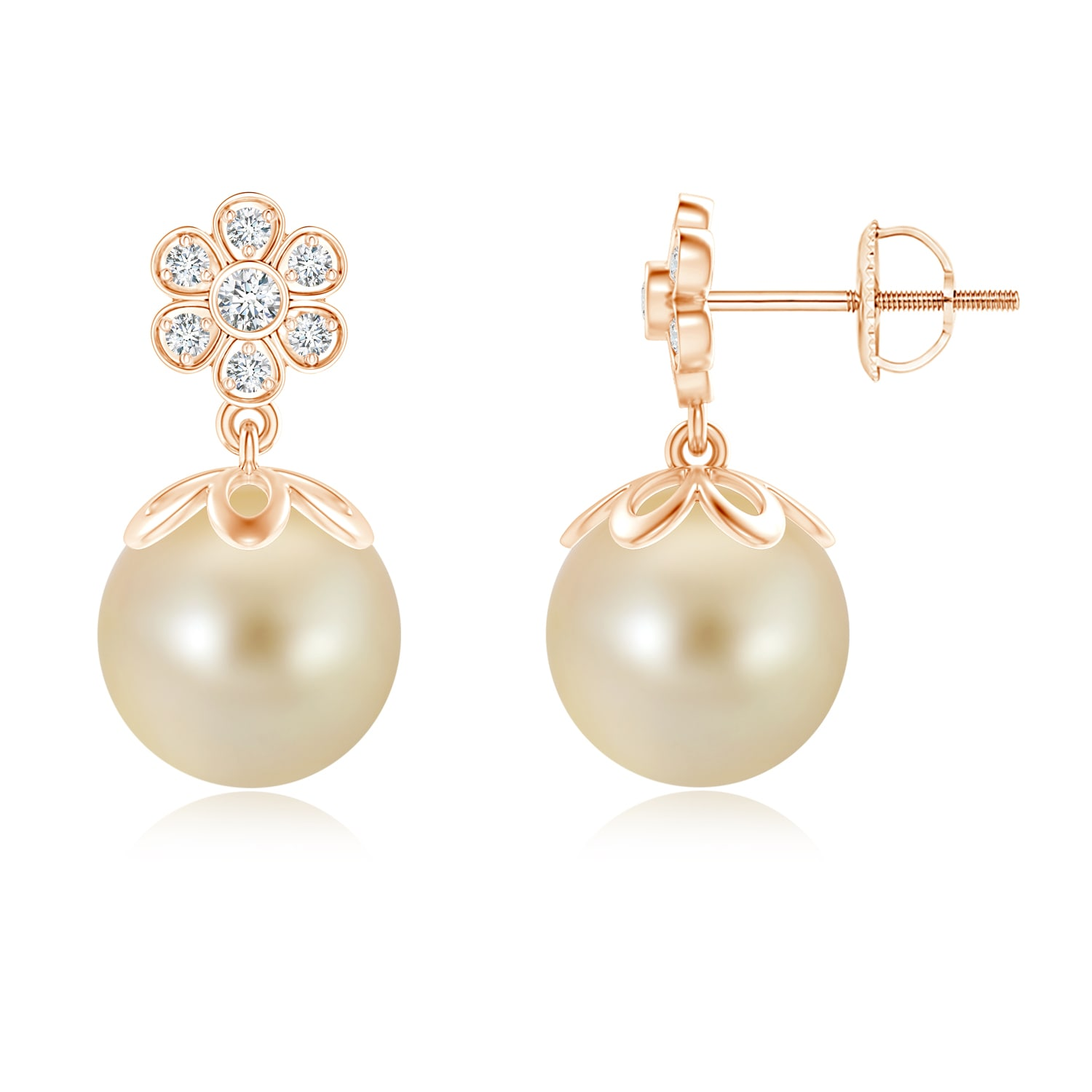 c68bccb2e89 Women s Day Sale - Golden South Sea Cultured Pearl Floral Drop Earrings in  14K Rose Gold (9mm Golden South Sea Cultured Pearl)- SE1239GSPRD-RG-AAA-9