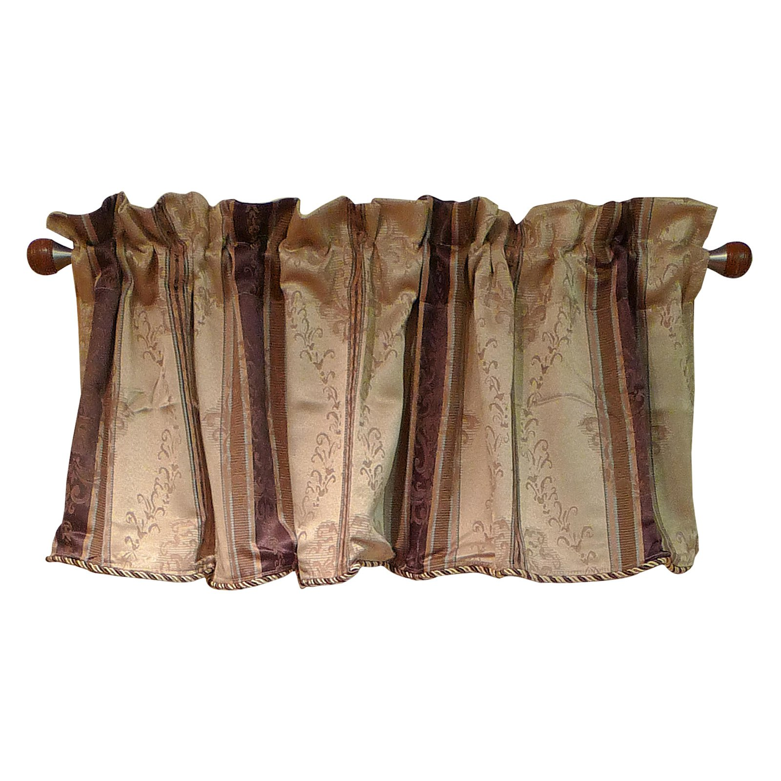 Window Accents Tuscan Stripe Scroll Stripe Jacquards Rod Pocket Valance Pair