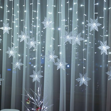 MeAddHome Outdoor Christmas Snowflake LED String lights Flashing Lights Curtain Lights Waterproof Outdoor Holiday Party Connectable Wave Fairy Light
