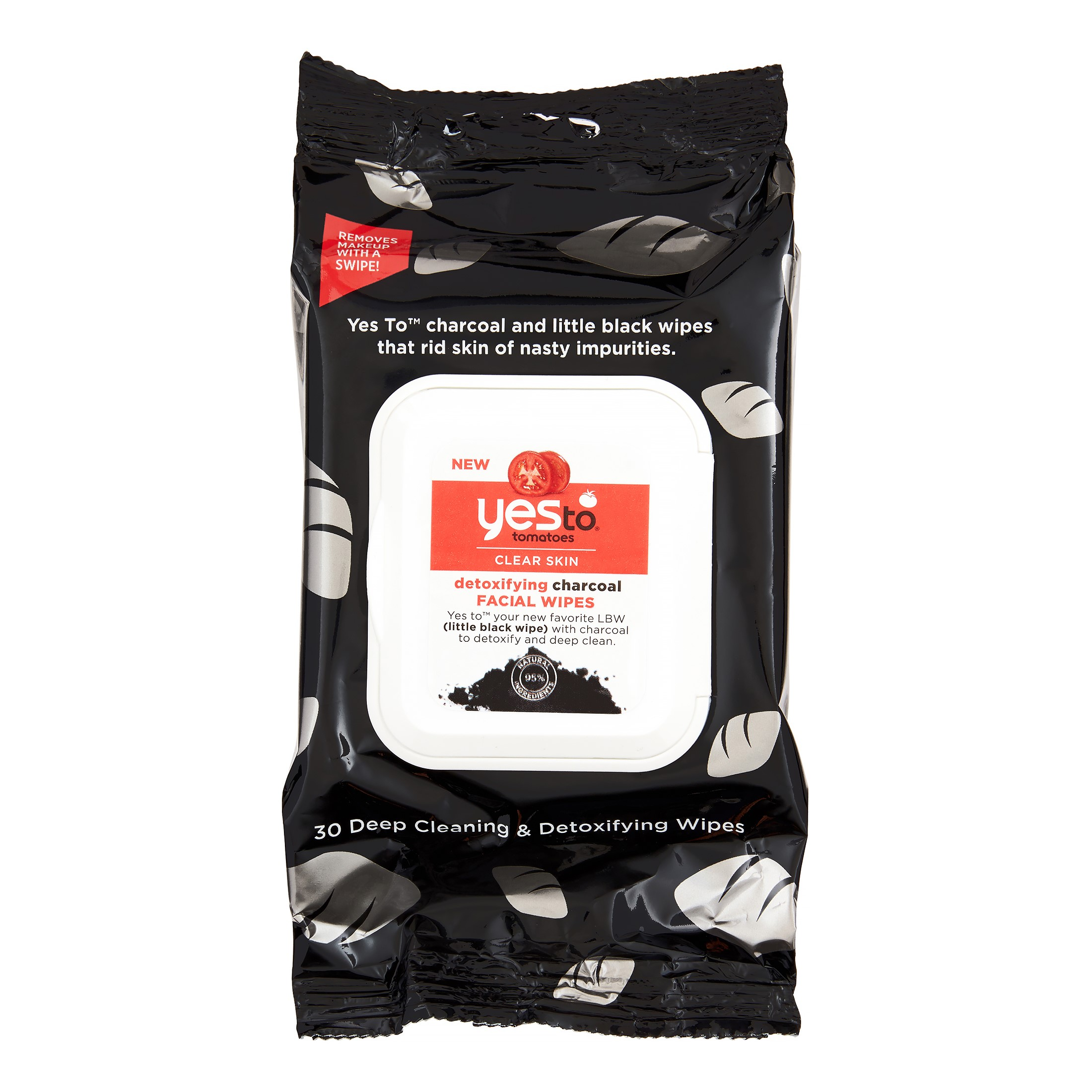 Yes To Tomatoes Detoxifying Charcoal Facial Wipes, 30 Ct