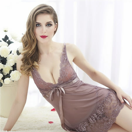 Sexy Sleepwear with Full Slips Mesh Floral Lace Satin Bow Cameo Small (Satin Full Slip)