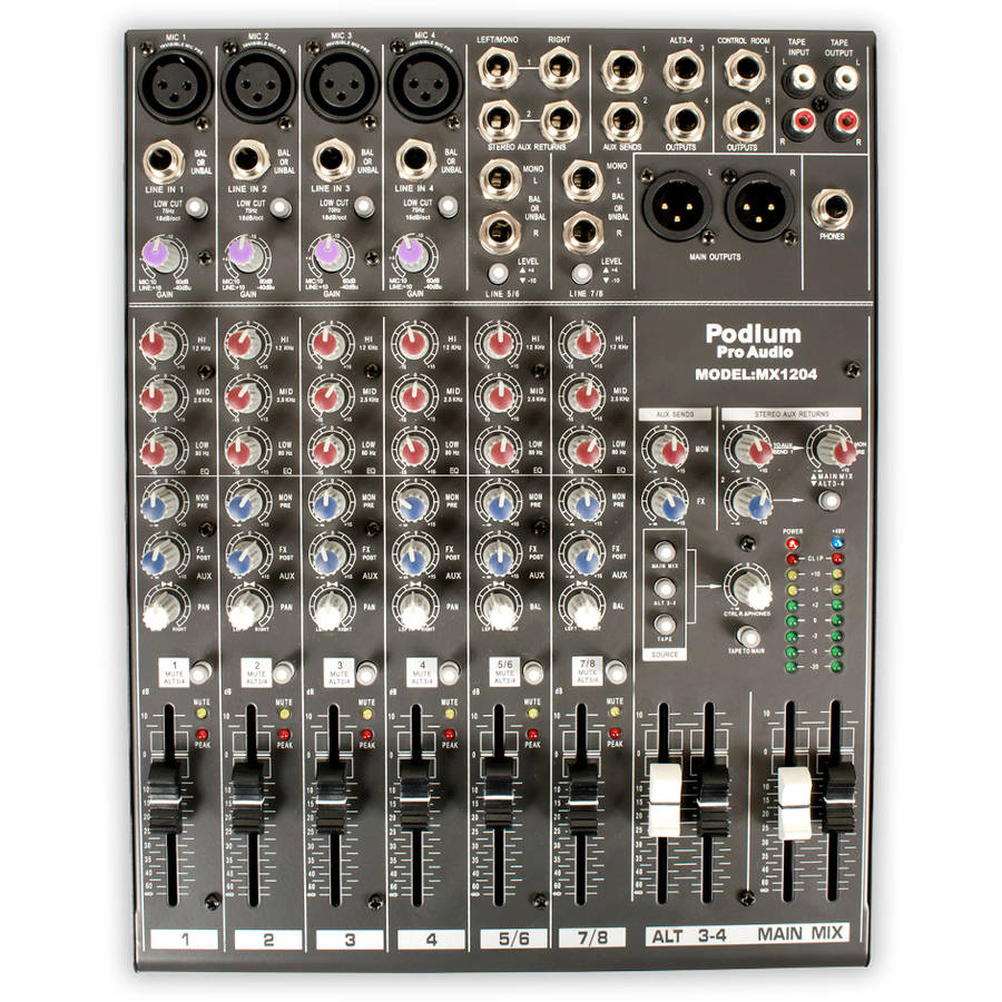 Podium Pro MX1204 Mixer 12 Channel Pro Audio Mic/Line Stereo Mixing Console
