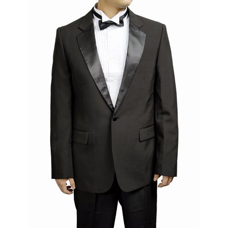 Men's Notch Collar Style Black Tuxedo Jacket Black Notched One Button Tuxedo