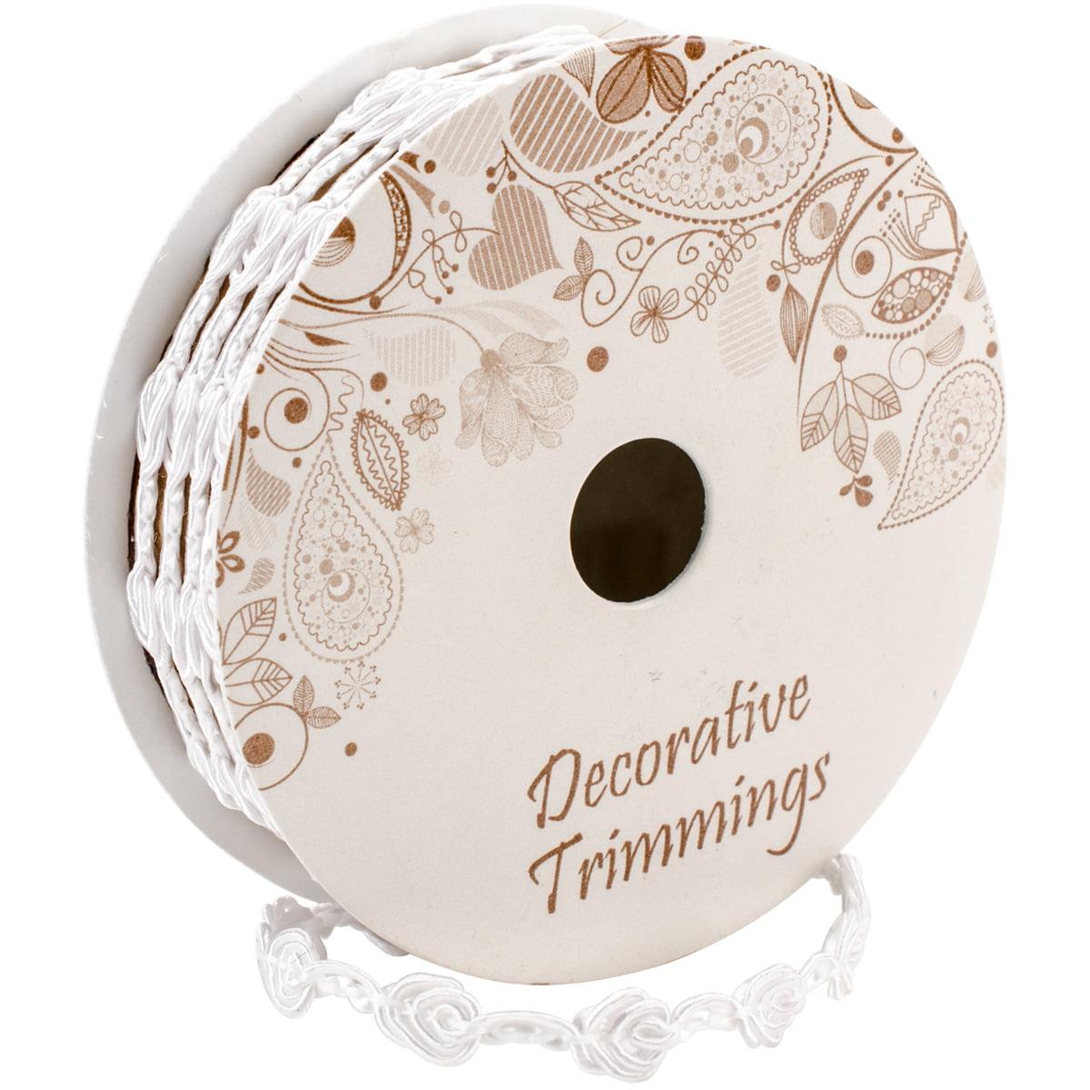 "Deco Trims Rose Grimp Trim 1/4""X4ft-White - image 1 de 1"