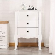 Zimtown White Finish Nightstand Side End Table Curved Legs Dresser with 3 Large Drawers