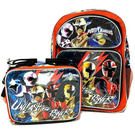 "Power Rangers 16"" School Backpack With Matching Lunch Bag Set- Super Ninja Steel"