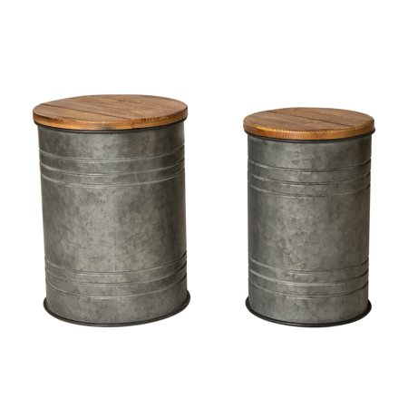 Glitzhome Farmhouse Galvanized Metal Storage Stool with Solid Wood Seat, Set of 2