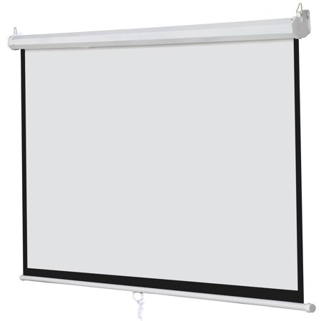 "GHP Home Office 100"" Diagonal Matte White 16:9 Manual Pull Down Projection Screen"