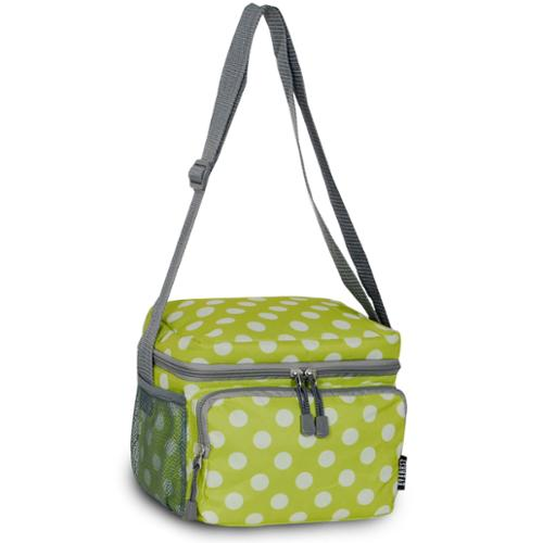 Everest Lime and White Polka Dot Shoulder Lunch Tote