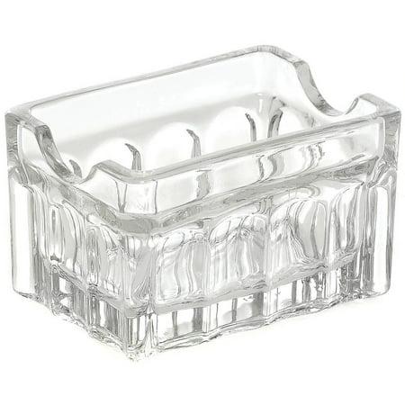 Tablecraft Clear Fluted Glass Sugar Packet Holder - 3 1/4