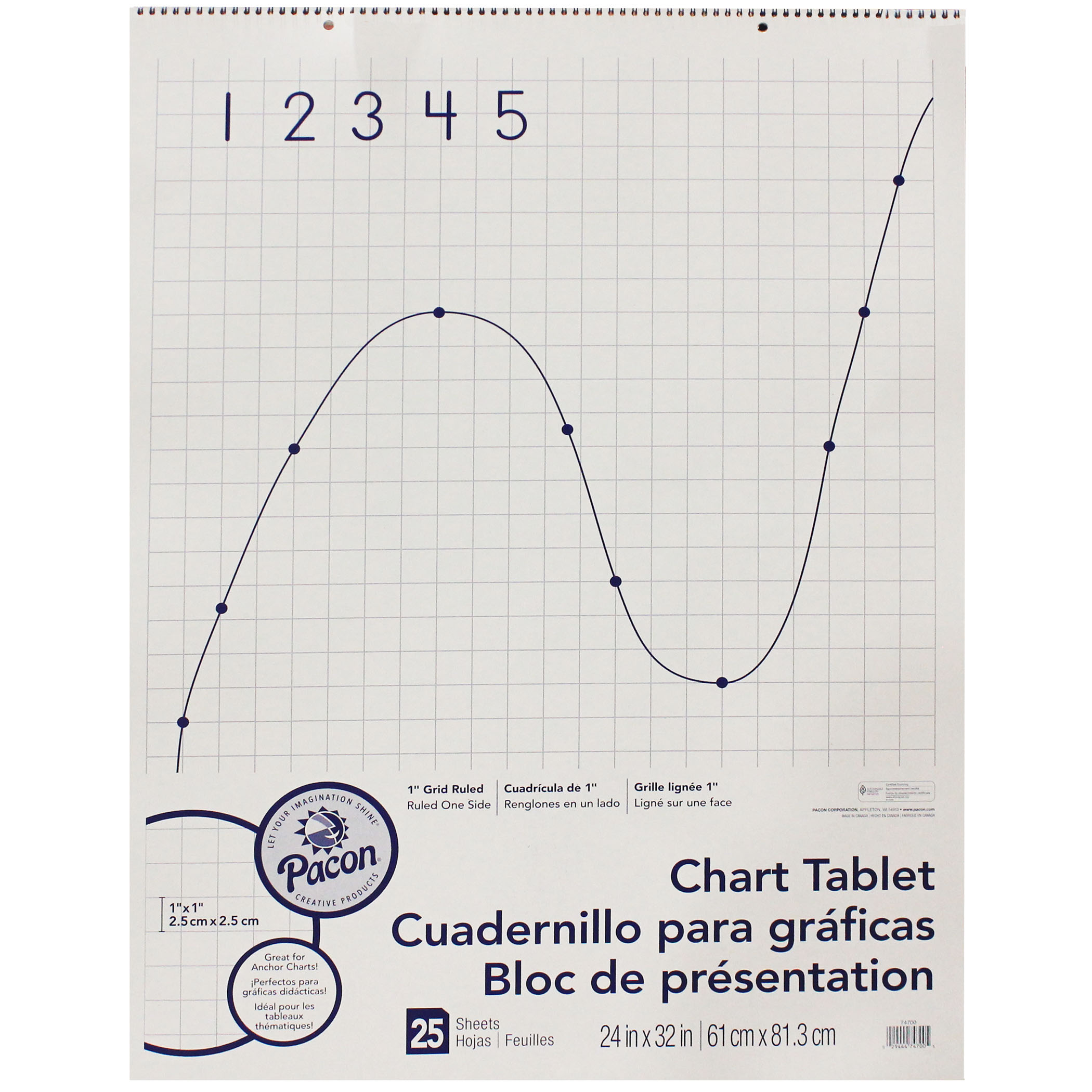 "Pacon® Grid Rule Chart Tablet, 24"" x 32"", 25 Sheets"