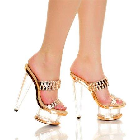 Highest Heel SPECTRUM-51-BLSM-6 6 in. Prism Heel & Platform Double Band Vamp with Diamonds, Blush Metallic - Size 6 - image 1 de 1