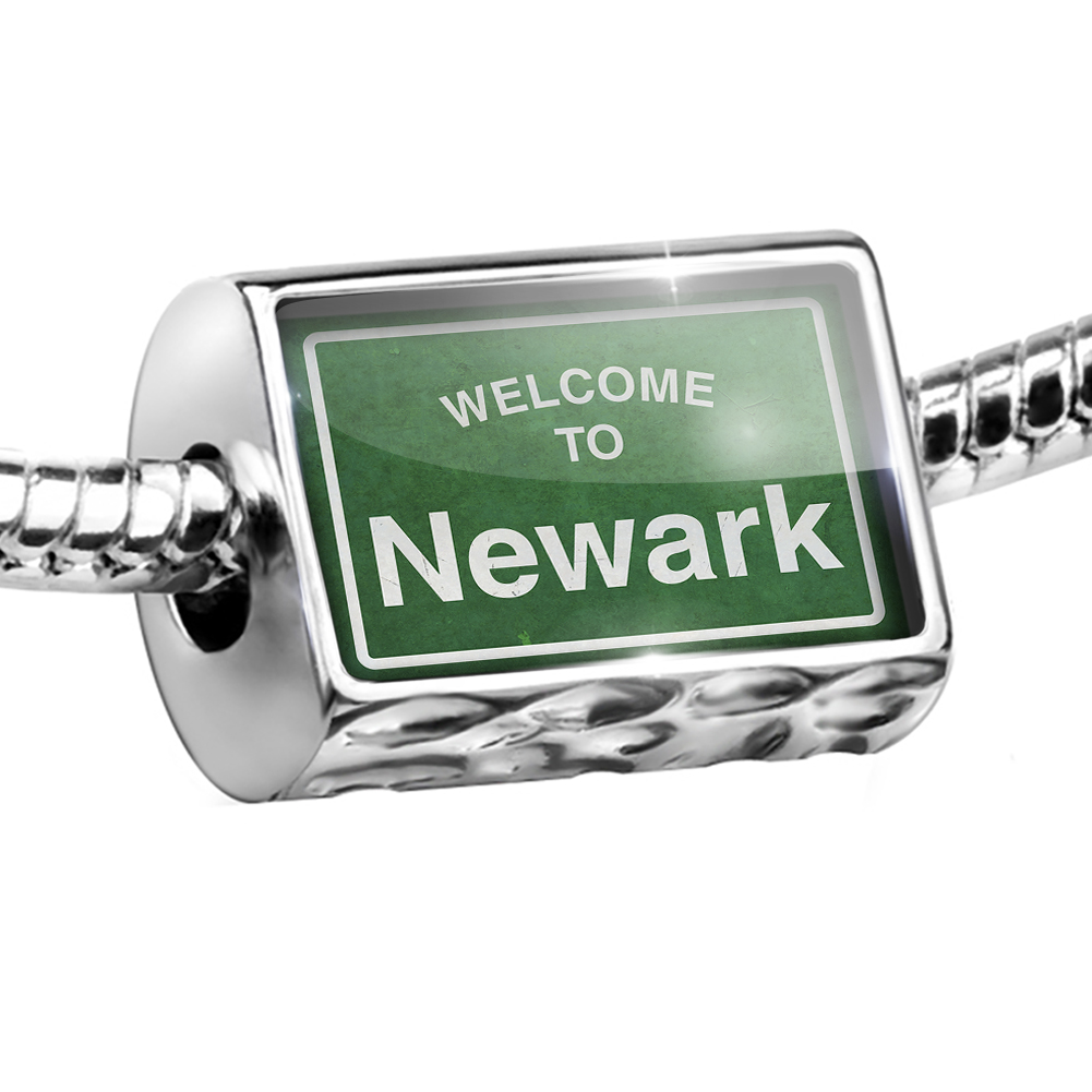 Bead Green Road Sign Welcome To Newark Charm Fits All European Bracelets