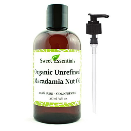 Organic Unrefined Macadamia Nut Oil | 8oz Imported From Italy | 100% Pure | Food Grade | Offers Relief From Dry, Cracked Skin, Eczema, Psoriasis, Dermatitis, Rosacea & More | Best Natural