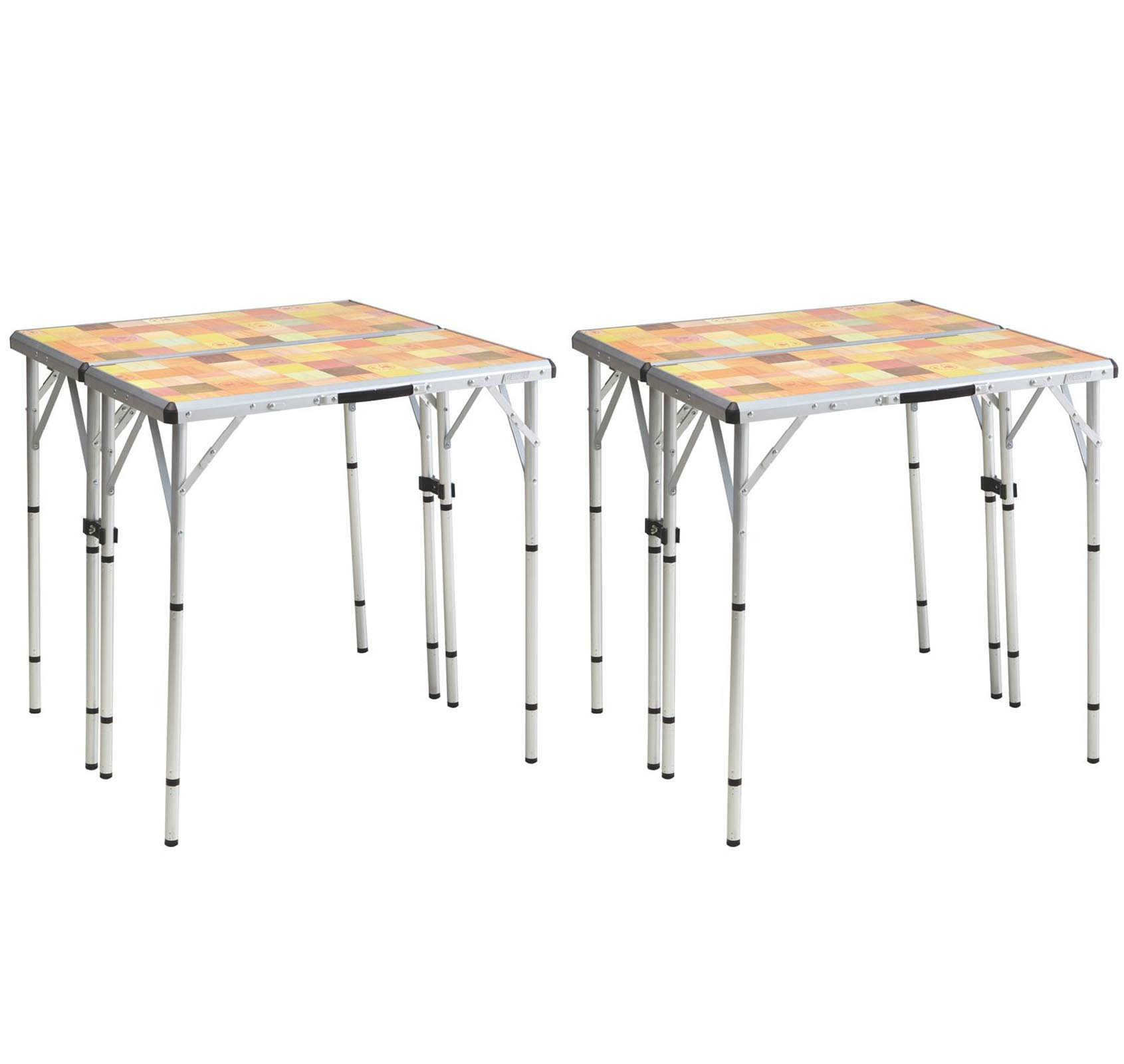 (2) COLEMAN Pack-Away 4-in-1 Portable Mosaic Camping Tailgating Picnic Tables by