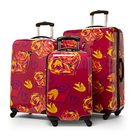 Hearts Fuchsia 3 Piece Spinner Hard Case Luggage - Luggage Hearts