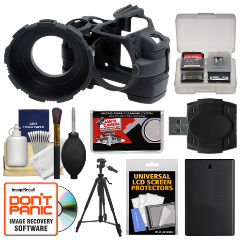 MADE Rubberized Camera Armor Case (Black) for Nikon D3000 Digital SLR Camera with EN-EL9a Battery + Tripod + Accessory Kit