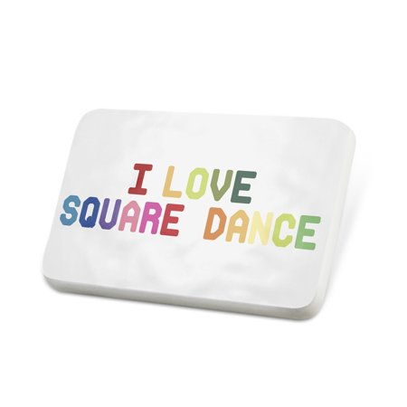 Square Lapel Pin (Porcelein Pin I Love Square Dance,Colorful Lapel Badge – NEONBLOND)