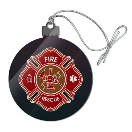 Firefighter Fire Rescue Maltese Cross Acrylic Christmas Tree Holiday