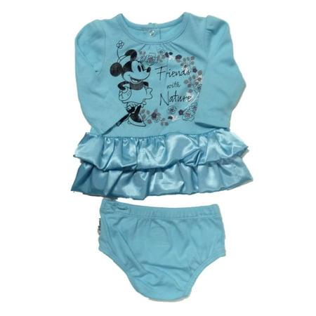 Disney Infant Girls Blue Minnie Mouse Satin Ruffle Dress Set 2 Piece