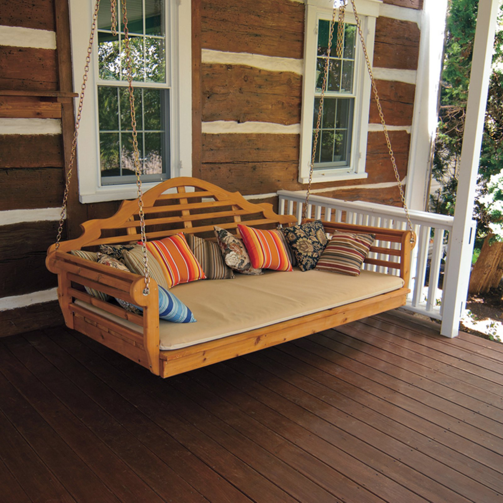A & L Furniture Western Red Cedar Marlboro 85 x 47 in. Extra Large Swing Bed - Holds Twin Size Mattress