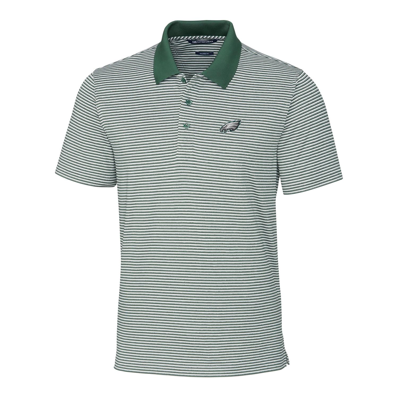 Philadelphia Eagles Cutter & Buck Forge Tonal Stripe Tailored Fit Polo - Green