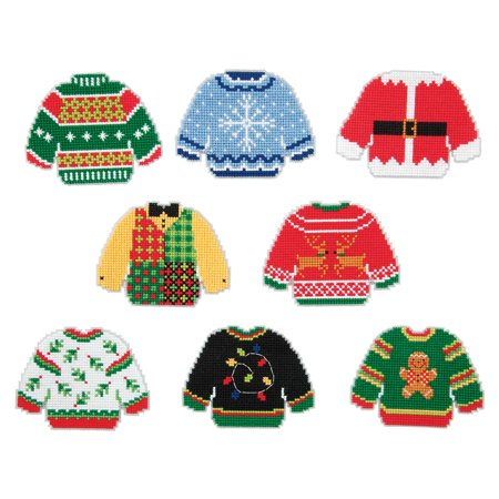 Herrschners® Ugly Sweaters II Ornaments Plastic Canvas Kit - Ugly Ornaments