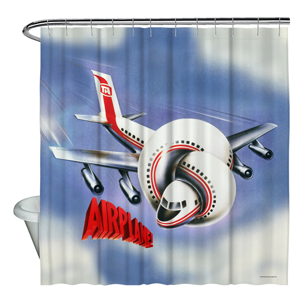 Airplane Poster Shower Curtain White 71X74