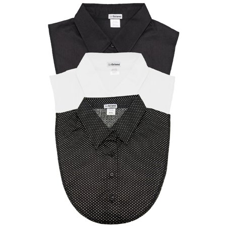3Pack of Black, White and Polka Dot Collared Dickies by (Polka Dot Poplin)