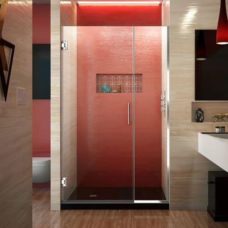 DreamLine Unidoor Plus 40-40 1/2 in. W x 72 in. H Frameless Hinged Shower Door in Chrome ()
