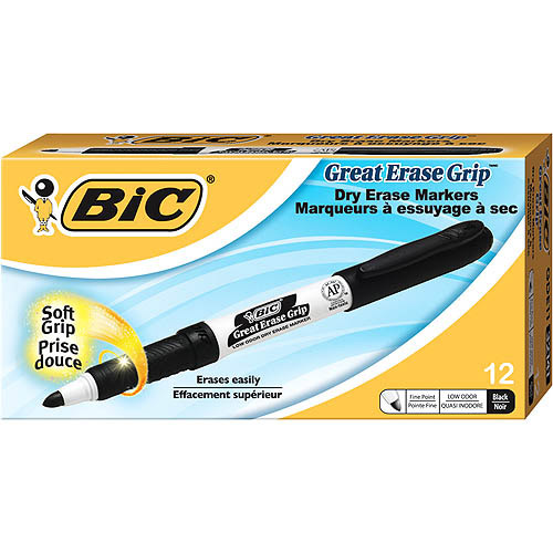 BIC Great Erase Grip Pocket Dry Erase Marker, Black, 12-Pack